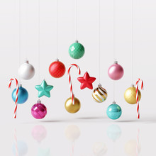 Christmas Decoration Ball, Star, Candy Can On White Bright Background. 3d Rendering