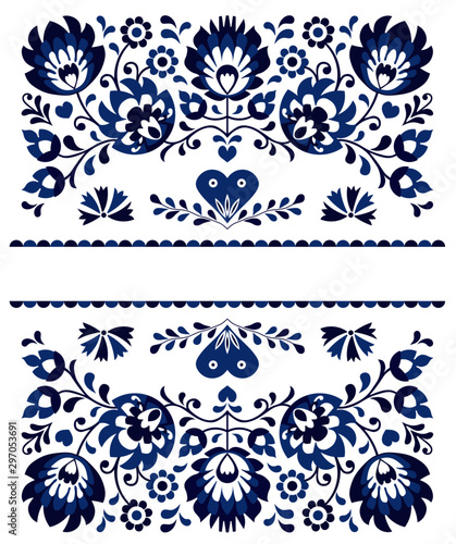 Traditional moravian folk embroidery and ornaments Fototapet
