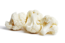 Cauliflower Isolated On White Background. Ripe Fresh Cauliflower Clipping Path.