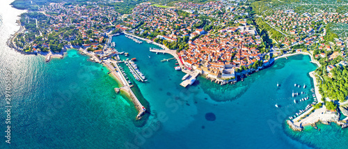 Garden Poster Old building Idyllic Adriatic island town of Krk aerial panoramic view