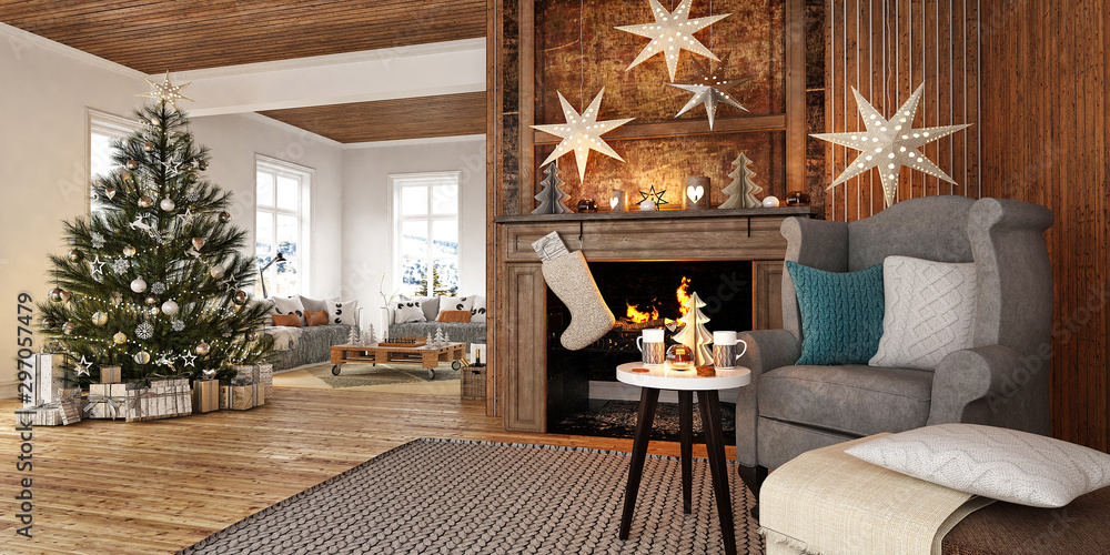 Fototapety, obrazy: New year tree in scandinavian style interior with christmas decoration and fireplace