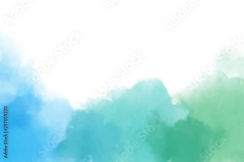 Pinturas sobre lienzo  blue and green watercolor splash in cool tone