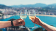 canvas print picture - Drink two glasses white wine outdoor sea nature holidays, romantic couple toast with alcohol, happy people cheering fun vacation enjoying travel time together friendship love concept blure congrat
