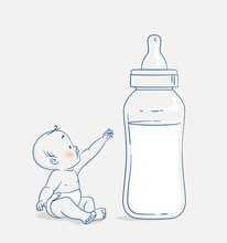 Cute Baby Boy Sitting On Floor And Reaching Out To A Huge Bottle Of Milk. Cartoon Vector Illustration
