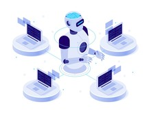 Artificial Intelligence Network. Virtual AI Bot, Chat With Computer Assistant And Machine Learning. Digital Robotic Chatbot Software, Futuristic Isometric Isolated Vector Concept Illustration