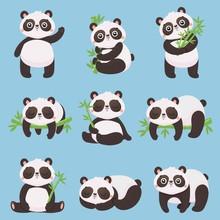 Cartoon Panda Kids. Little Pandas, Funny Animals With Bamboo And Cute Sleeping Panda Bear. Doodle Mascot Pandas Mammal Character Sticker Or Kid Toys. Isolated Vector Illustration Icons Set