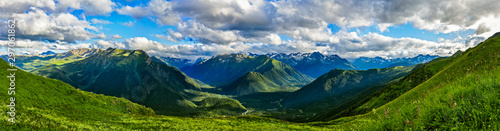 caucasian mountains and cloudy sky on a summer day