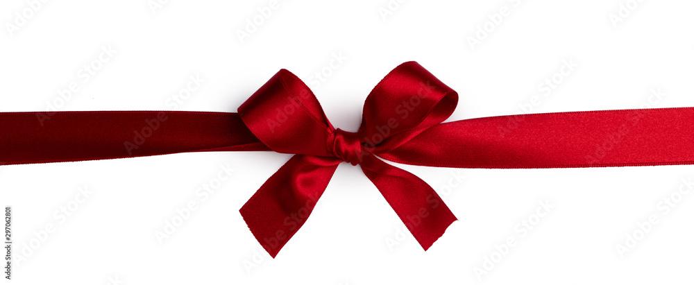 Fototapety, obrazy: Red gift bow on white