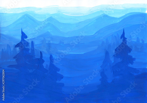 Papiers peints Bleu fonce Gouashe hand painted bright blue landscape with pines and hills