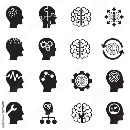 Fotografía  Mindset Icons. Black Flat Design. Vector Illustration.