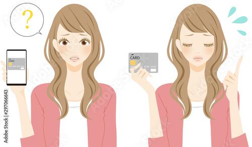 Fotomural  トラブル 困る カード決済 クレジット キャッシュレス スマホでショッピングをする女性 イラスト