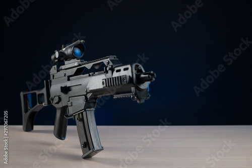 automatic rifle with optical sight Canvas Print