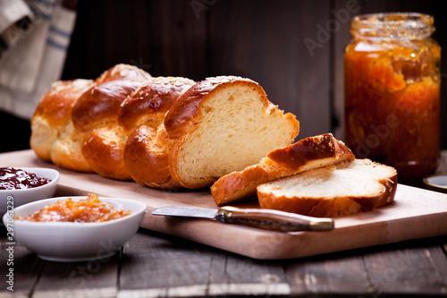 Fotografie, Obraz Homemade Brioche With Orange Marmalade