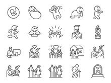 Life Cycle Line Icon Set. Incl...