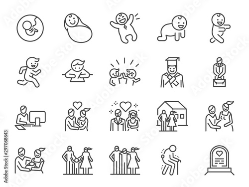 Life Cycle line icon set. Included icons as birth, child, death, growing, family, happy and more.