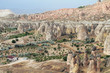 Aerial view of rocks of different forms and caves in Cappadocia,Turkey
