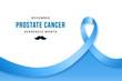 Prostate Cancer awareness banner. Realistic blue ribbon, prostate cancer symbol. Vector design template for infographics, websites, billboards, etc.