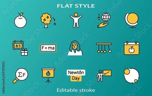 Photo Newton's Day Set Line Vector Icon