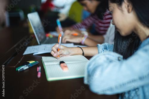 Pinturas sobre lienzo  Back to school education knowledge college university concept,Students Education Social Media Laptop Tablet