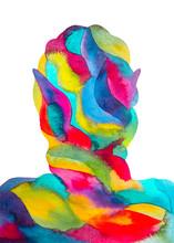 Dipinto Acquerello Concetto Emozioni Positivi. Persona Eccitata.