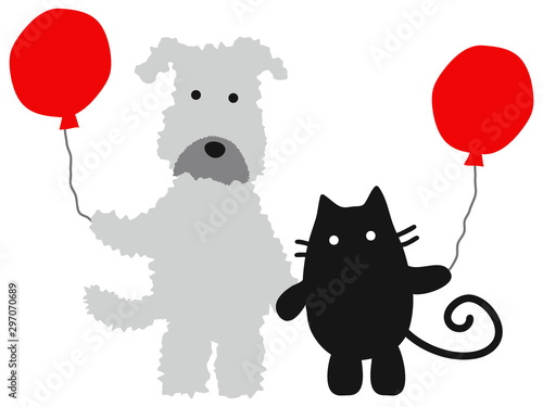Valokuva  a gray dog and a black cat with red balloons 赤い風船を持つグレーの犬と黒猫