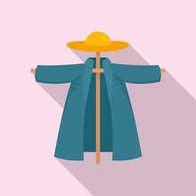 Garden Scarecrow Icon. Flat Illustration Of Garden Scarecrow Vector Icon For Web Design