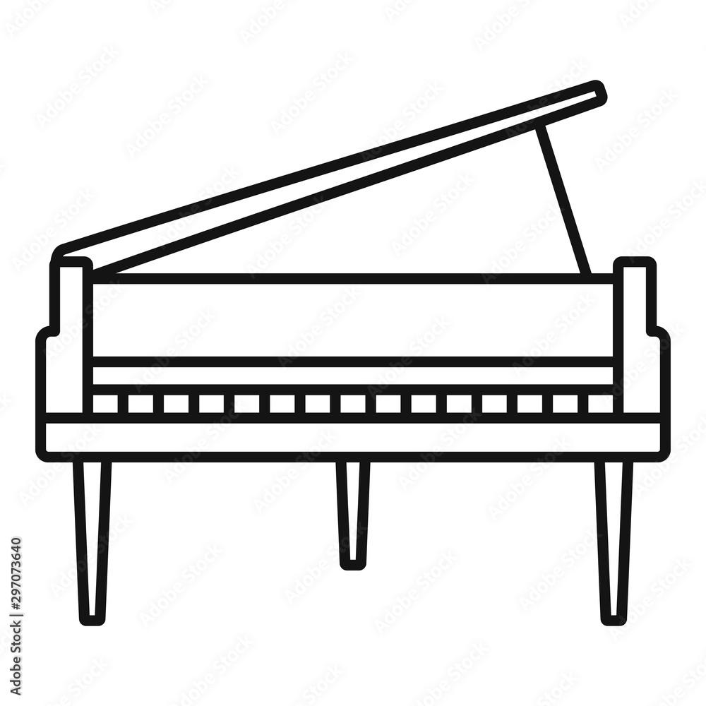 Grand piano icon. Outline grand piano vector icon for web design isolated on white background