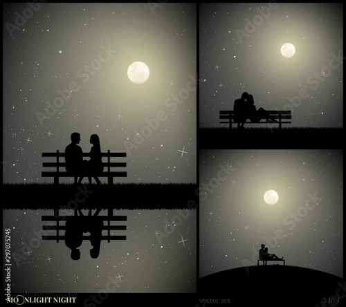 Canvas Print Set of vector illustrations with silhouettes of lovers in park on moonlit night