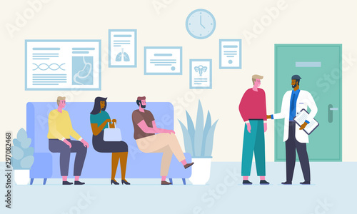 Fototapety, obrazy: People in waiting room flat vector illustration