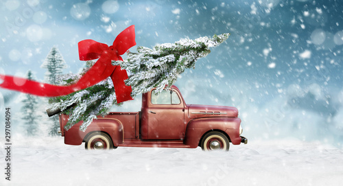 Photo sur Toile Cartoon voitures Pick up transports Christmas tree with red bow