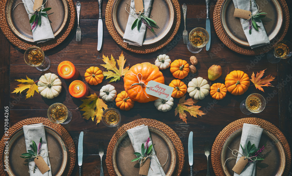 Fototapety, obrazy: Thanksgiving celebration traditional dinner table setting