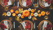 canvas print picture - Thanksgiving celebration traditional dinner table setting
