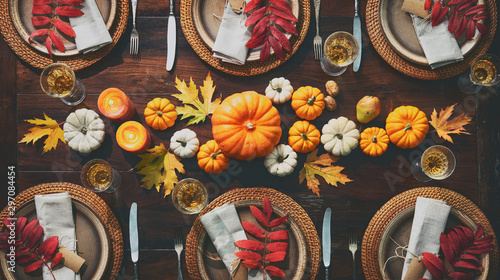 Thanksgiving celebration traditional dinner table setting - 297084454