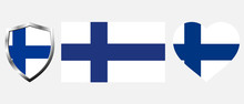 Set Of Finland Flag On Isolate...
