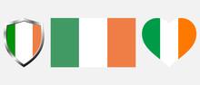 Set Of Ireland Flag On Isolate...