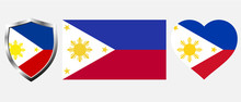 Set Of Philippines Flag On Isolated Background Vector Illustration