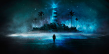 Abstract, Futuristic Background, Lighthouse On The Mountain. Night Sea View, Water Reflection Of Light. Illuminations. Dark Seascape, Abstract Scene, Neon Rays, Palm Trees.