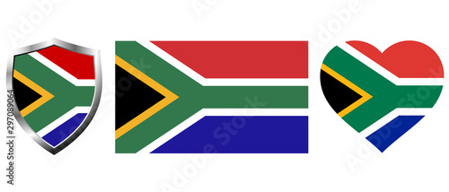 Fotografía Set of South Africa flag on isolated background vector illustration
