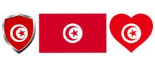 Set Of Tunisia Flag On Isolate...