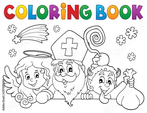 Montage in der Fensternische Für Kinder Coloring book Saint Nicholas Day topic 1