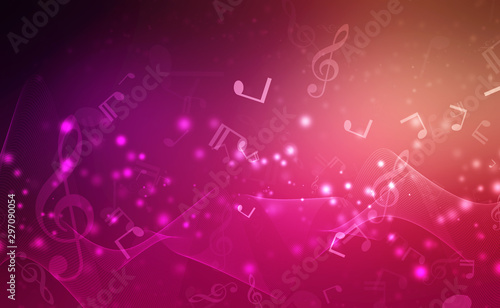 Abstract Colorful music background with notes, Music Party Background - 297090054