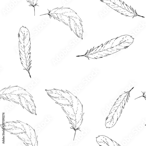 Foto auf Gartenposter Boho-Stil Feather background falling shape. Seamless pattern. Falling feather.