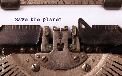 Fotografie, Obraz  Save the planet, written on an old typewriter