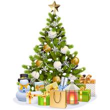 Vector Snowy Christmas Tree