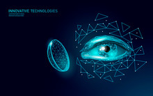 Contact Lenses 3D Low Poly Concept. Healthcare Eye Vision Care Medicine Support. Close Up Eyesight. Ad Marketing Template Vector Illustration