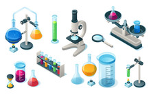 Set Of Isolated Chemical Or Medical Laboratory Equipment. Medicine Or Chemistry Items For Science Or School Lab. Flask With Pipes And Microscope, Hourglass And Magnifying Glass, Tube. Biology,pharmacy