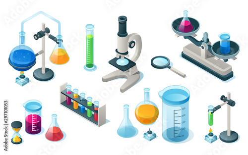 Foto Set of isolated chemical or medical laboratory equipment