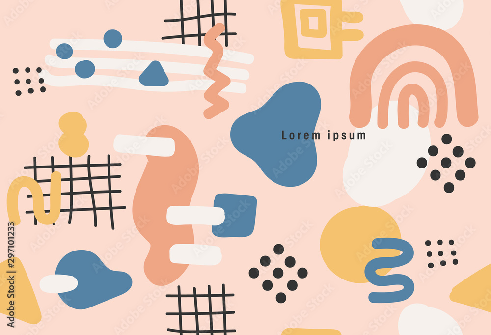 Fototapety, obrazy: Memphis style seamless pattern, modern abstract background, minimal covers design, Colorful geometric background