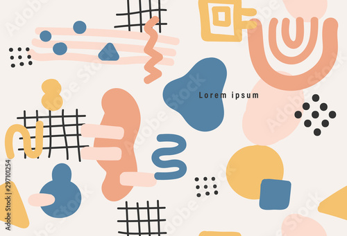 Memphis style seamless pattern, modern abstract background, minimal covers design, Colorful geometric background