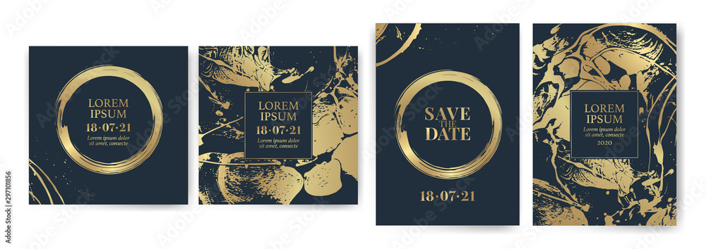 Fototapety, obrazy: Set of design templates with golden texture, marble effect. Luxury and elegance. Gold and blue color.
